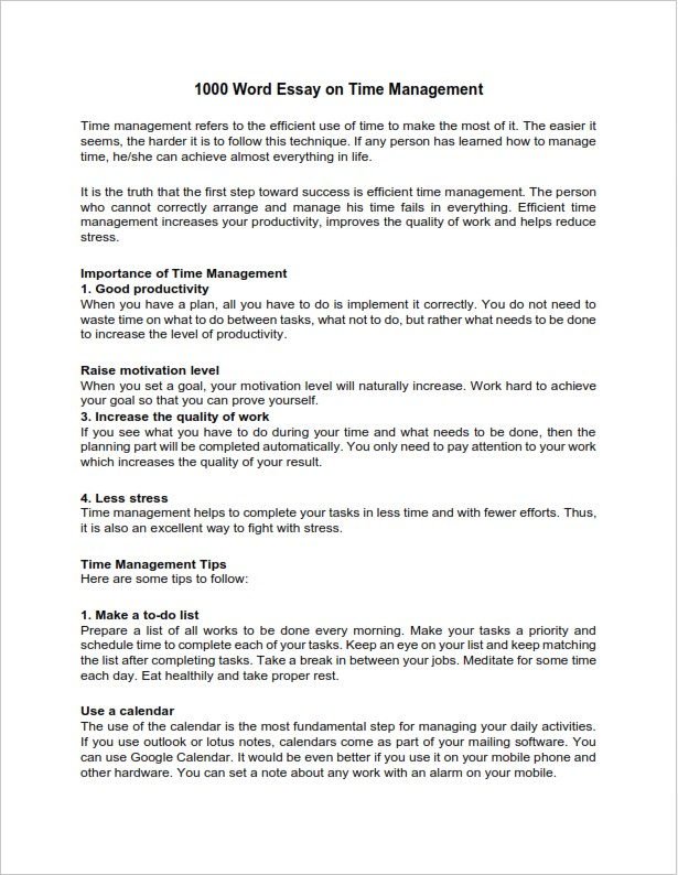 1000 Word Essay on Time Management