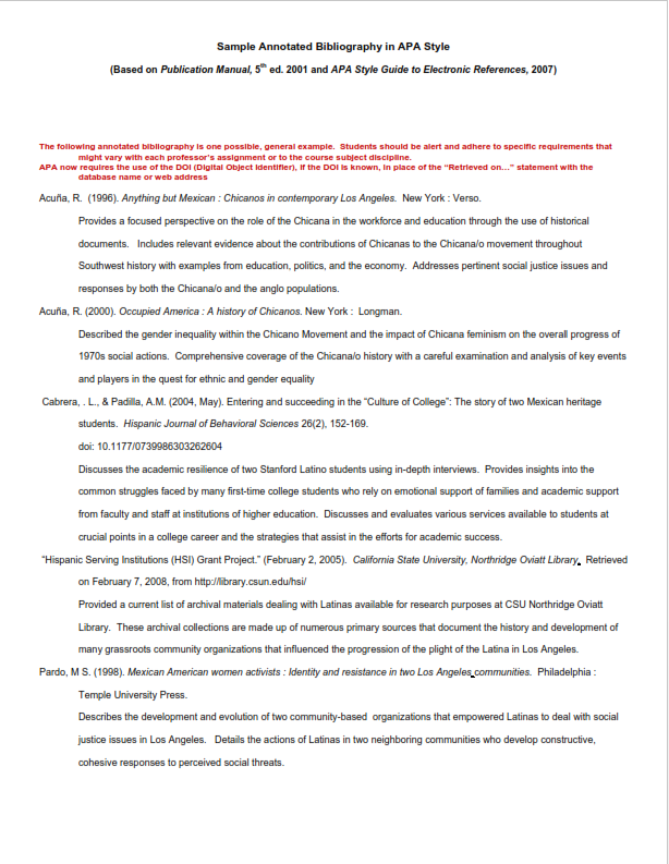 Annotated Bibliography Example (PDF)