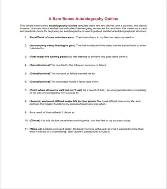 Autobiography Outline Example for College