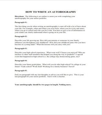 Writing an Autobiography - Sample