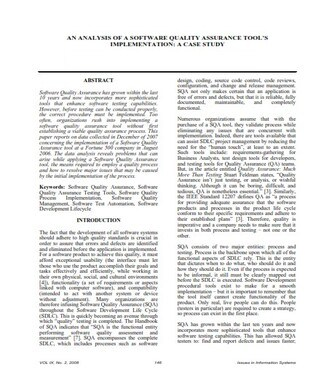 Case Study Examples Software Quality Assurance (PDF)