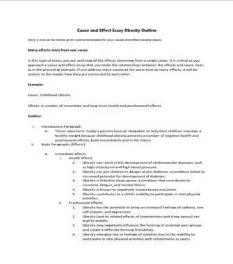 Cause and Effect Essay Obesity Outline (PDF)