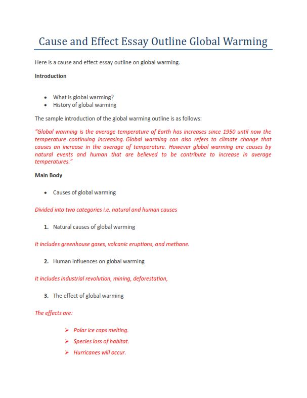 Cause and Effect Essay Outline Global Warming (PDF)