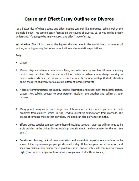 Cause and Effect Essay Outline On Divorce (PDF)