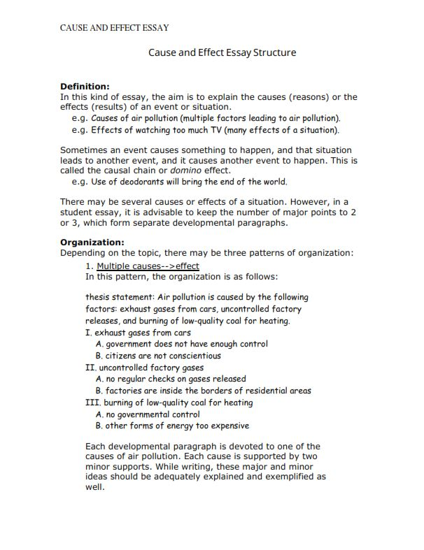 Cause and Effect Essay Structure (PDF)