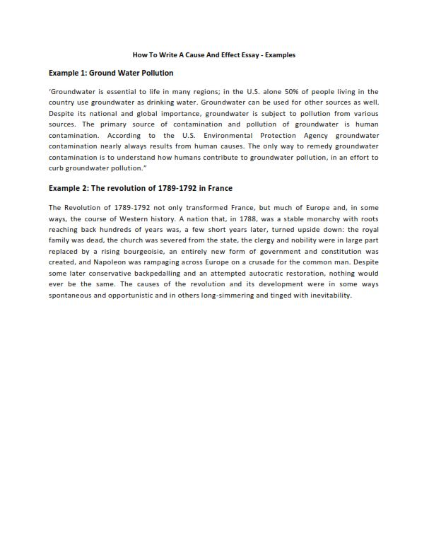 How To Write A Cause And Effect Essay - Examples (PDF)