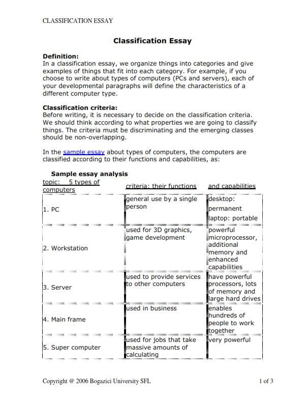 Classification And Division Essay Example (PDF)