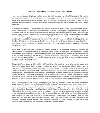 College Application Essay Examples 600 Words (PDF)