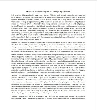 Personal Essay Examples for College Application (PDF)