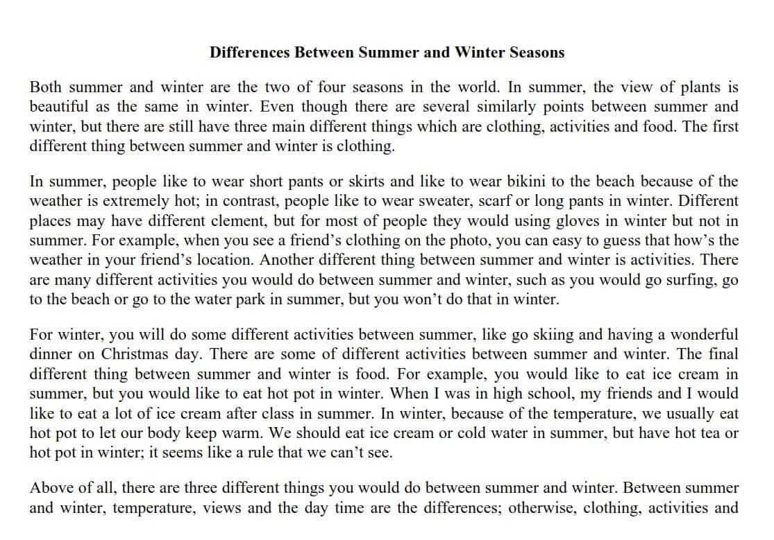 Comparative Essay on Summer and Winter