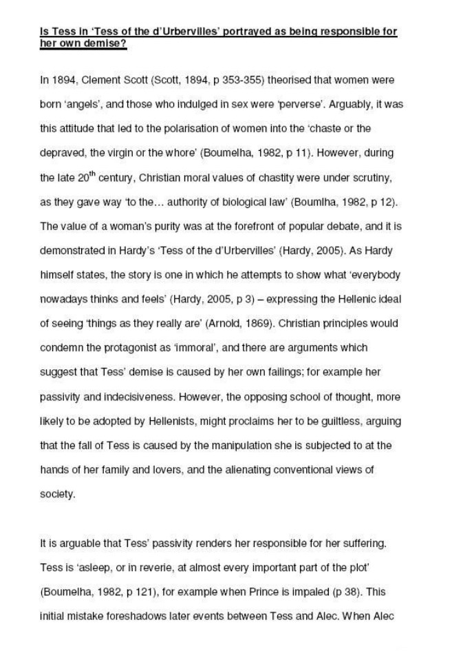 Critical Essay  On Tess Of The d'Urbevilles