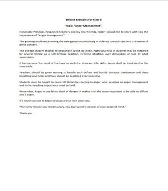 Debate Examples for Class 8  (PDF)