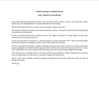 Debate Examples for Middle School   (PDF)