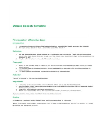 Debate Speech Template  (PDF)