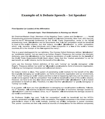 Example of a Debate Speech – 1st Speaker  (PDF)