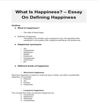 Happiness Definition Essay Outline  (PDF)
