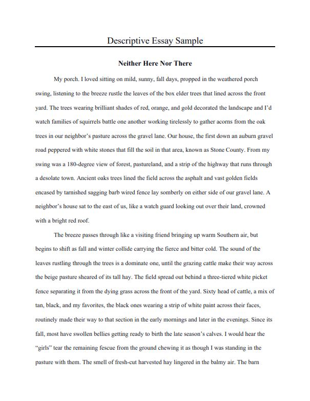 Descriptive Essay Example for Middle School (PDF)