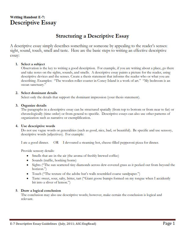 How to Write a Descriptive Essay - Example (PDF)