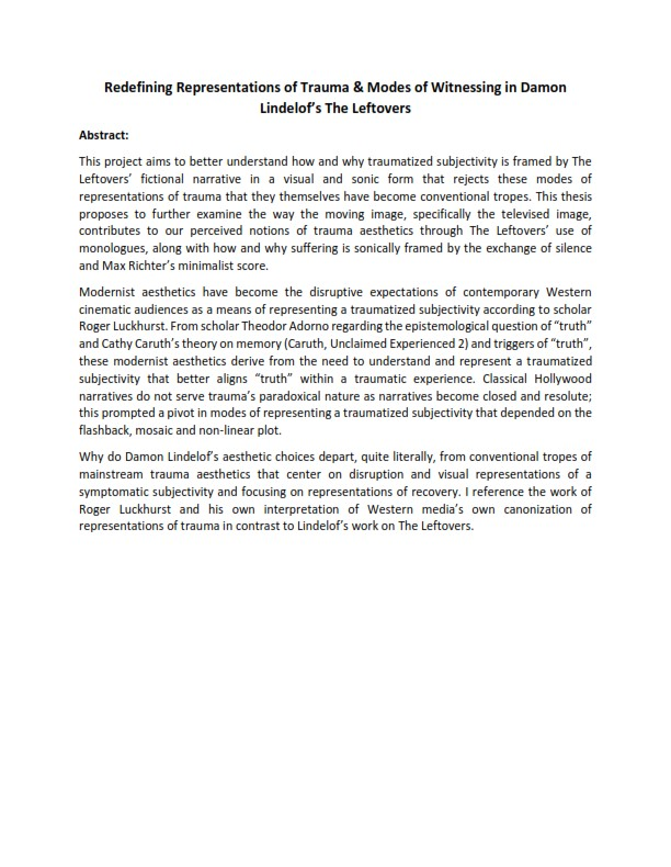 Dissertation Abstract Humanities