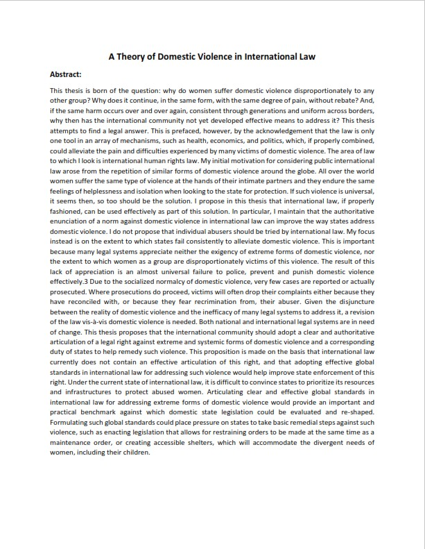 Law Dissertation Abstract Example