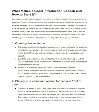 How to Start a Speech - Examples