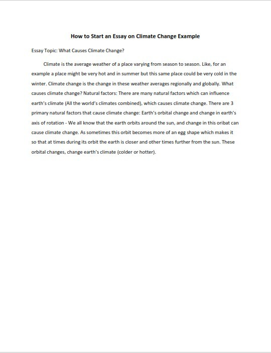 How to Start an Essay on Climate Change (PDF)