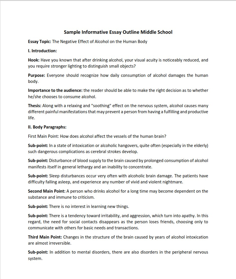 Sample Informative Essay Outline Middle School