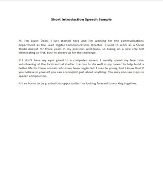 Short Introduction Speech Sample  (PDF)