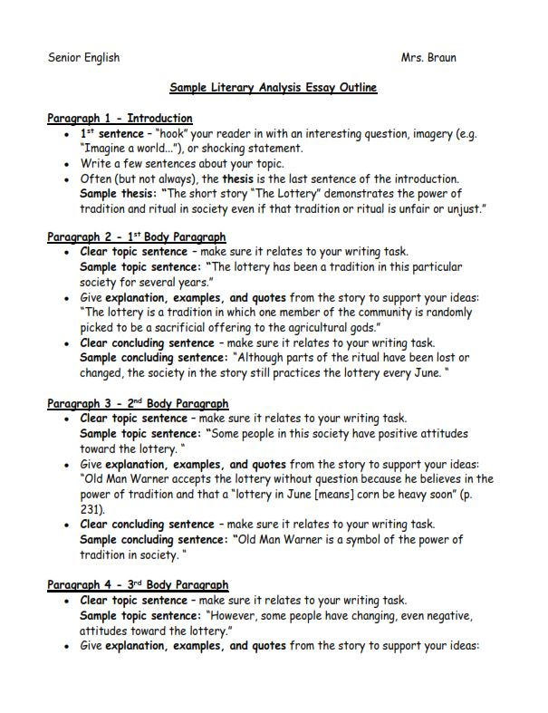 Sample Literary Analysis Essay Outline (PDF)