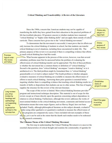APA Literature Review For A Research Paper (PDF