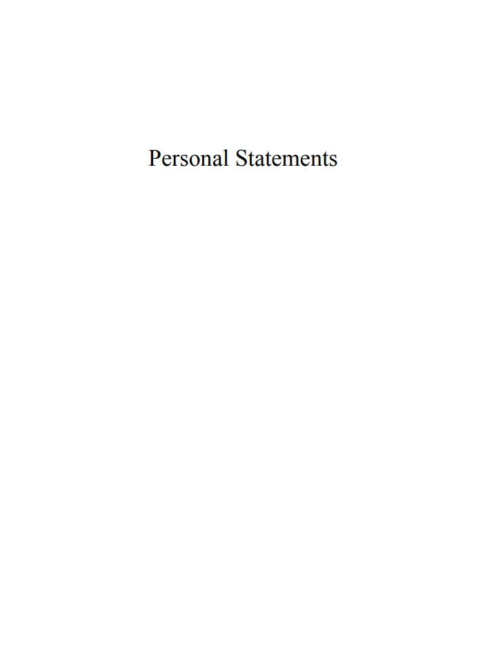Narrative Personal Statements