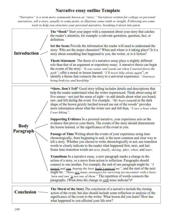 5 Paragraph Narrative Essay Outline (PDF)