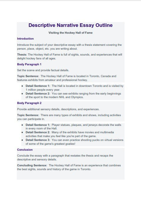 Descriptive Narrative Essay Outline (PDF)