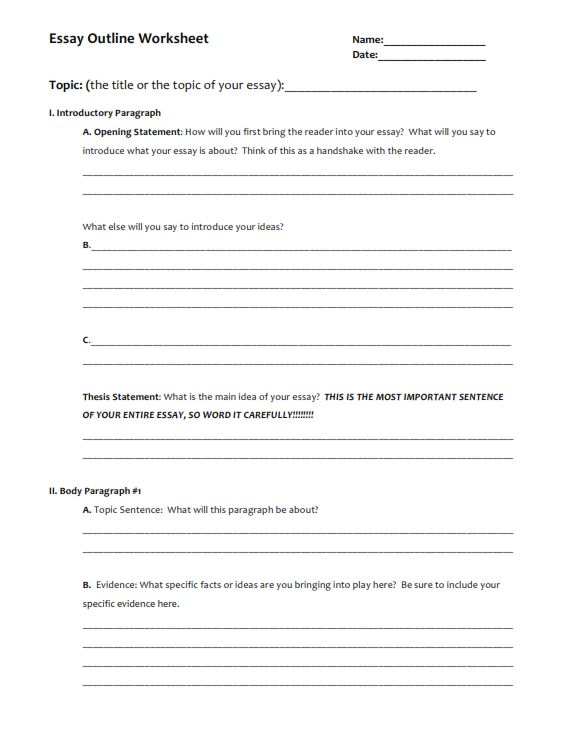 Narrative Essay Outline Worksheet (PDF)