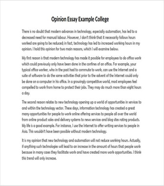 Opinion Essay Example College (PDF)