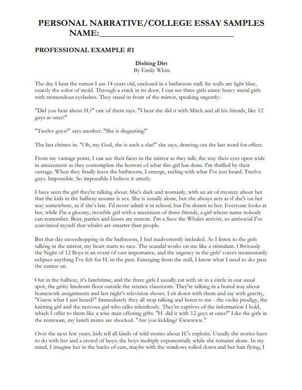 Personal Narrative Essay for College (PDF)
