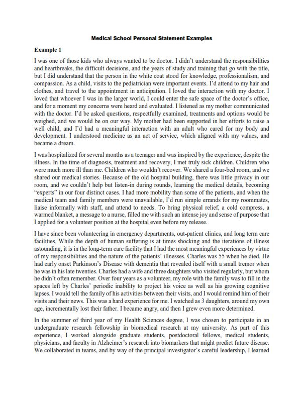 Medical School Personal Statement Examples (PDF)
