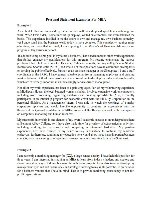 Personal Statement Examples For MBA (PDF)
