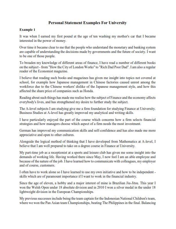 Personal Statement Examples For University (PDF)