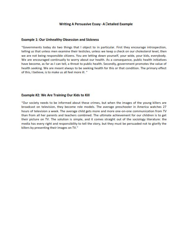 Writing A Persuasive Essay - A Detailed Example (PDF)