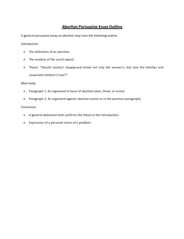 Abortion Persuasive Essay Outline (PDF)
