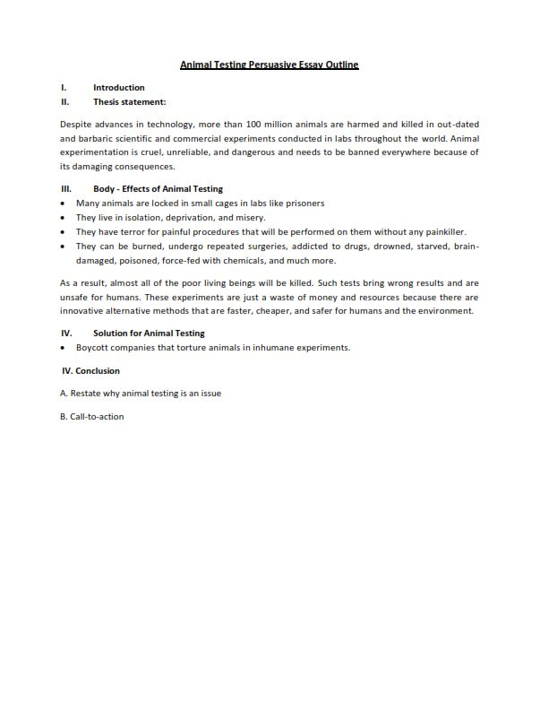 Animal Testing Persuasive Essay Outline (PDF)