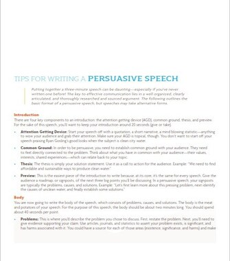 How to Write a Persuasive Speech - Examples (PDF)