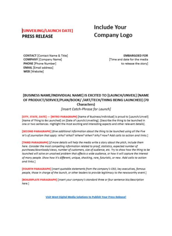 Product Press Release Example (PDF)