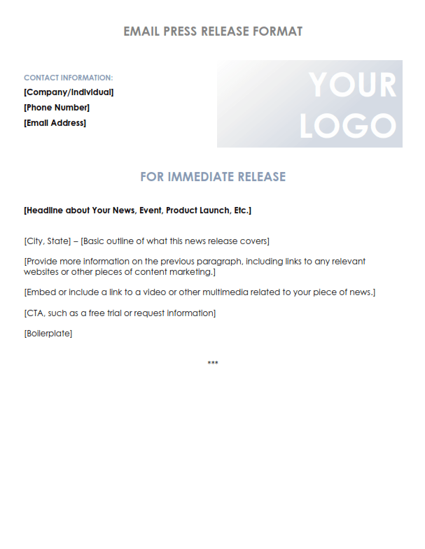 Press Release Email Format (PDF)