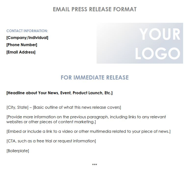 Press Release Email Format