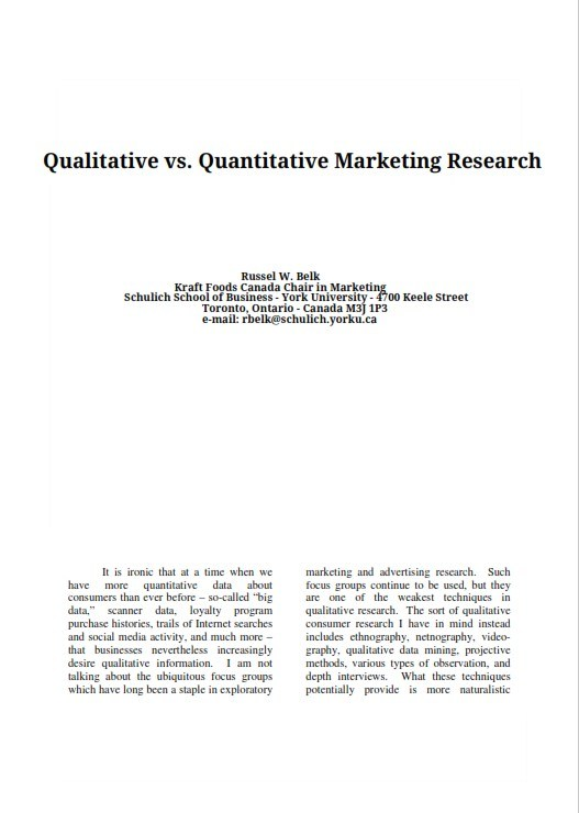 Qualitative vs. Quantitative Marketing Researchs (PDF)