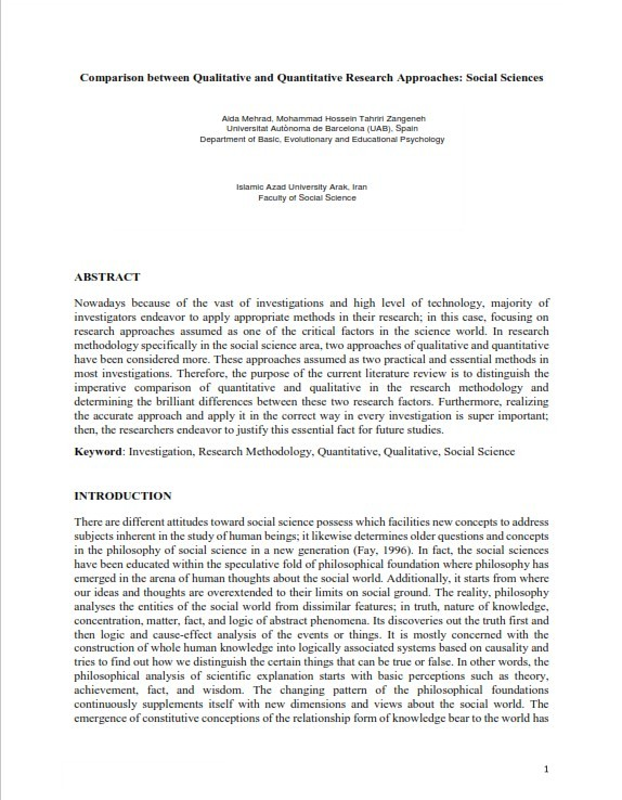 Qualitative vs. Quantitative Research Sociology (PDF)