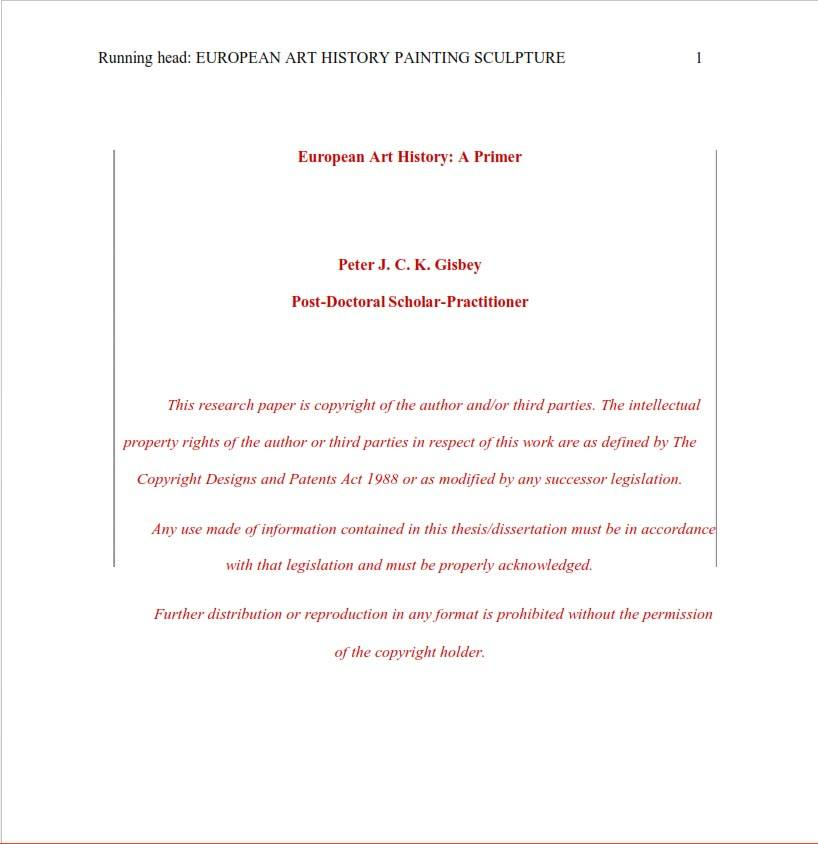 Art History Research Paper Sample