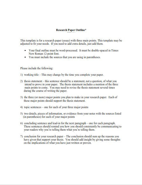 Research Paper Outline Example (PDF)